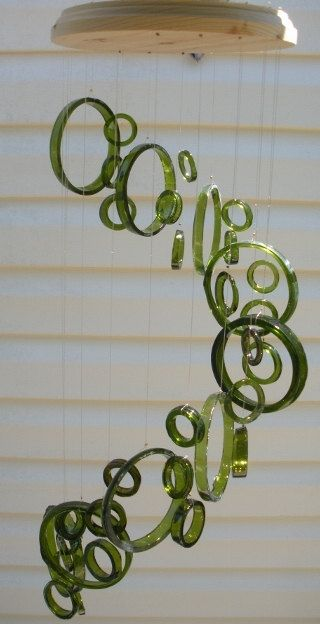Windchimes made out of recycled wine bottles..