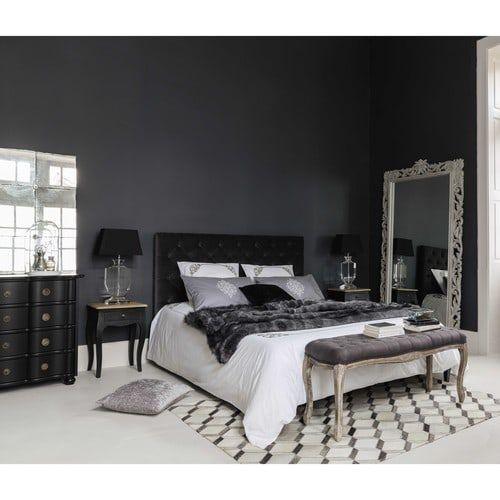 Bout de lit capitonné en bois et lin taupe L 114 cm