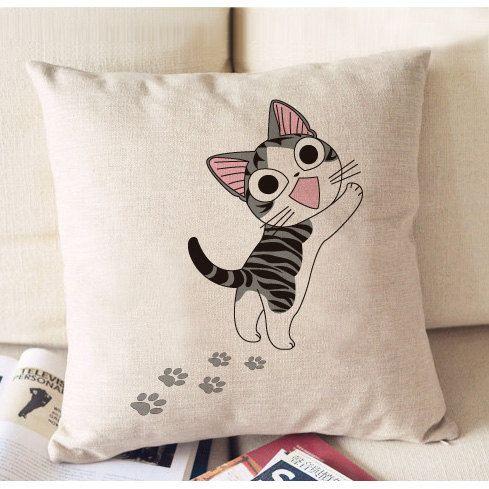 Sweet Home Cat de Chi impression lin coton taie de par LuEmbroidery, $12.00