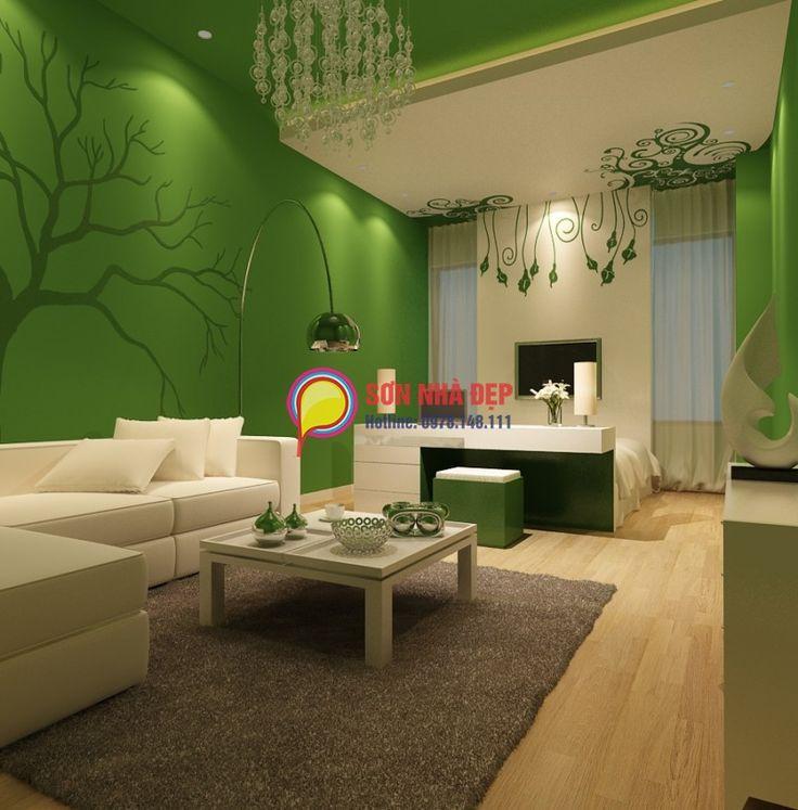 SƠN NHÀ CHUYÊN NGHIỆP Sơn tường nhà màu xanh lá cây và một số ý tưởng trong thiết kế