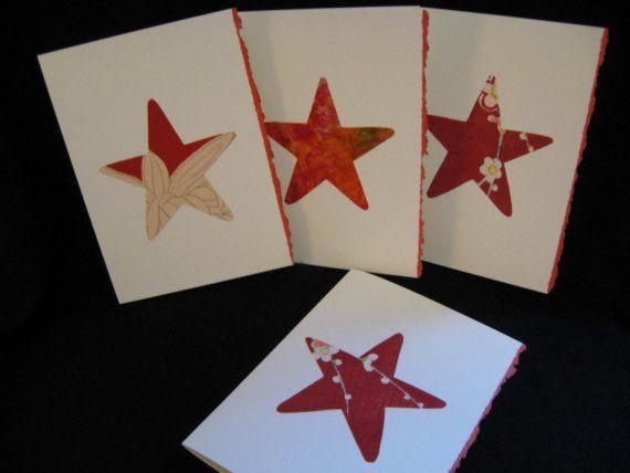 Christmas Stars Greeting Cards Japanese Silk by KIMONOCARDS