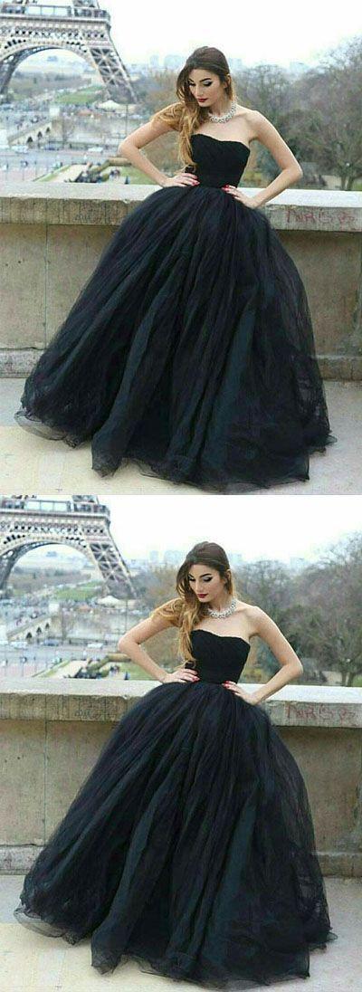Stylish A-Line Strapless Black Tulle Long Prom/Evening Dress B0711