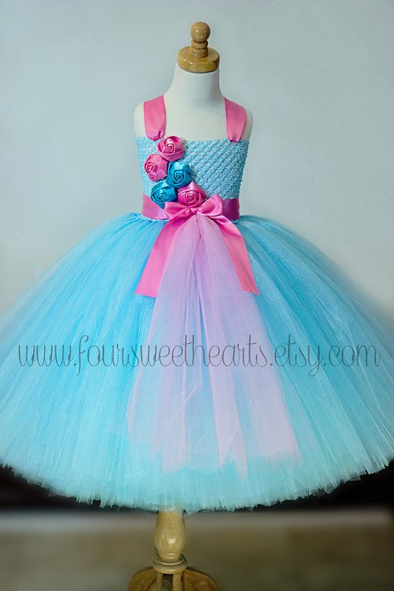 Pink and Blue Girls Tutu Dress, Flower Girl Dress, Birthday Dress, Pageant Dress, Princess Dress