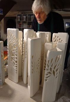 Ceramics by Ray Macro at Studiopottery.co.uk - 2016. Ray in workshop Glazing…