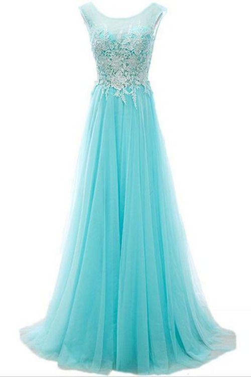 Tiffany blue chiffon long lace senior prom dresses