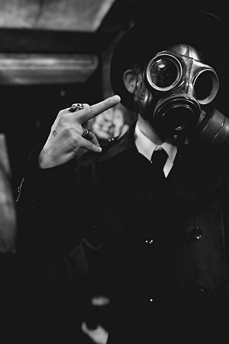gasmask + middle finger