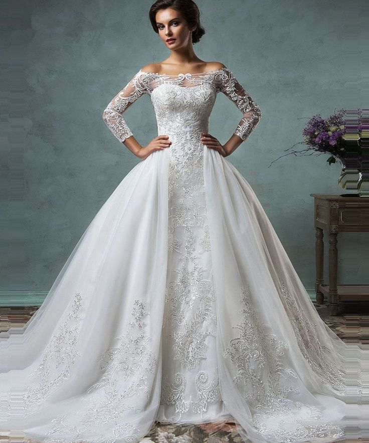 Vintage 2 in 1 Appliques Lace Sleeves Detachable Train Wedding Dress