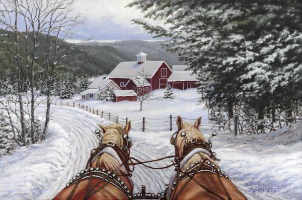 Sleigh Bells in the snow: Christmas Cards, Richard Dewolfe, Winter Scene, Sleigh Bells, Sleigh Rides, Art Prints, Winter Wonderland, Sleighbells