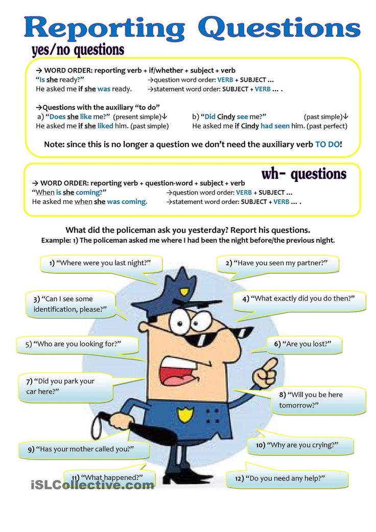 REPORTED SPEECH - questions