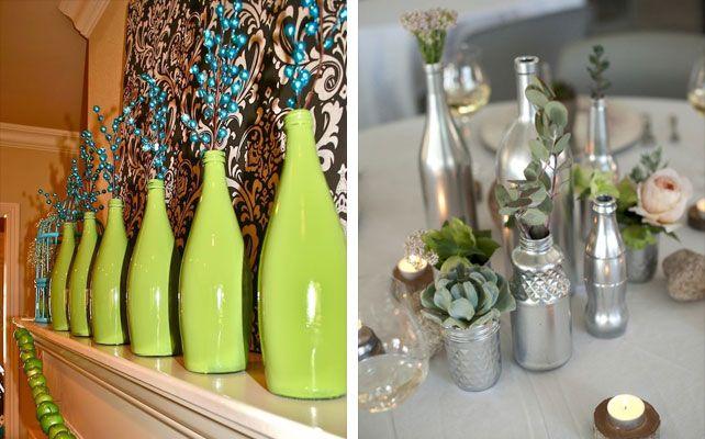 Как сделать вазы из стеклянных бутылок