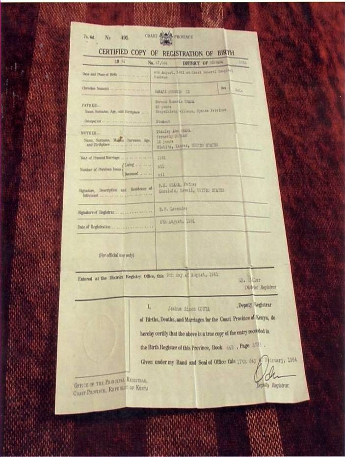 Is This Obama's Birth Certificate From Mombasa, Kenya?