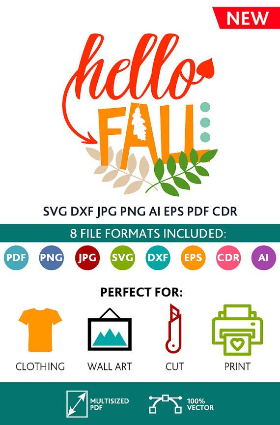 Hello Fall SVG Cut Files Wall Art Quote Printable Art Decor room Art Printable Poster digital (Svg Dxf Cdr Eps Ai Jpg Pdf Png)