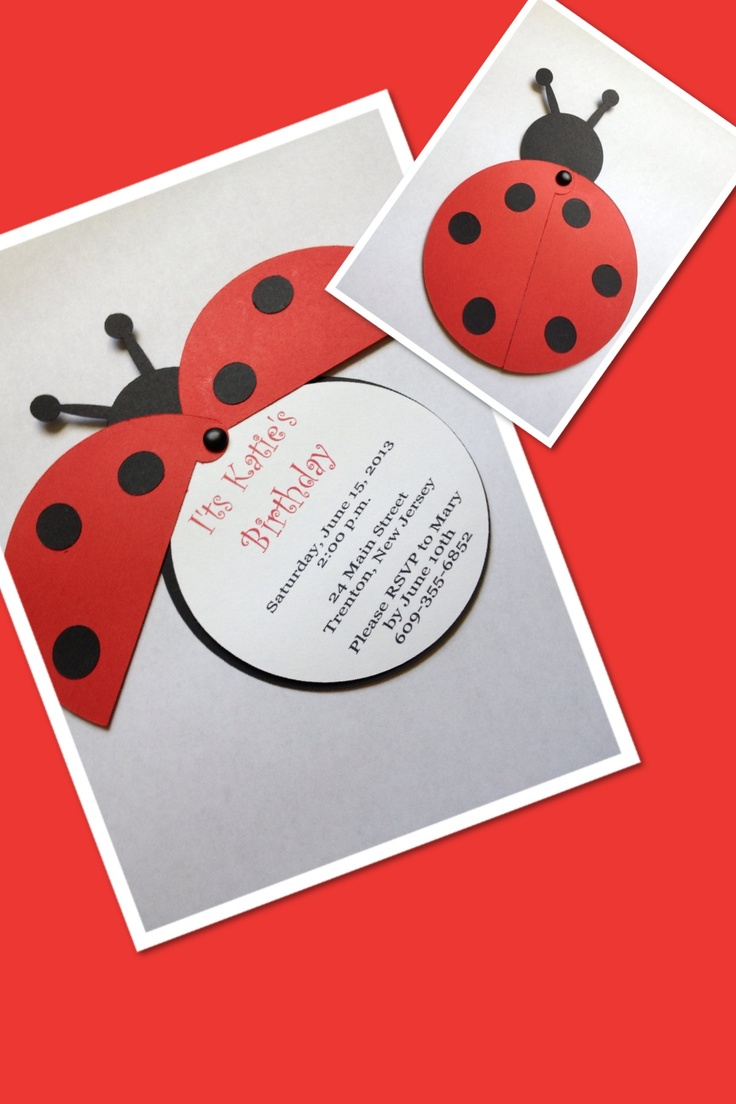 Ladybug Personalized Invitation by Simply Fab & Chic