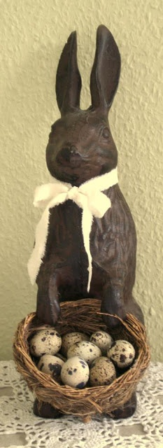 Spring Equinox:  Vintage bunny with egg basket, for the #Spring #Equinox.