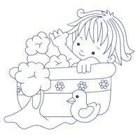 Bluework Bath Time Babies (5x5) - Embroidery Delight   OregonPatchWorks