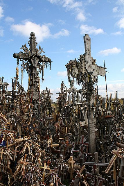 Lithuania Hill of Crosses.Amid lush green hills in the Lithuanian countryside…