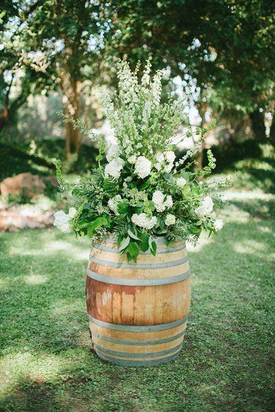 wine barrel wedding flowers - Google Search