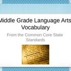 Common Core Vocabulary for Middle Grades PowerPoint. Test prep for middle grades Language Arts. Academic vocabulary. Vocabulary words that may be t...