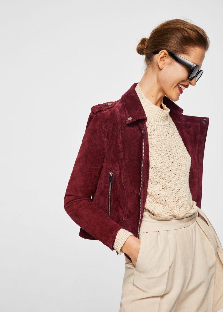 Suede leather Biker design Loops on the shoulders Lapels Metallic appliqués Side zip pockets Long sleeve Inner lining