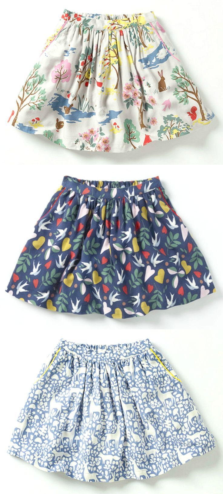 Woodland & Bird Printed Twirl Skirts | Boden