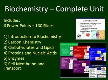 Biochemistry Complete Unit - This Senior Biology Unit package includes a complete resource set for a senior level Biology Biochemistry Unit totaling 6 Power Points and 160 slides. Aside from the lessons, the unit includes: - Group protein activity - 3 class review quizzes - Carbohydrates, Lipids and Proteins/Nucleic Acids - 2 Unit Tests Lessons include