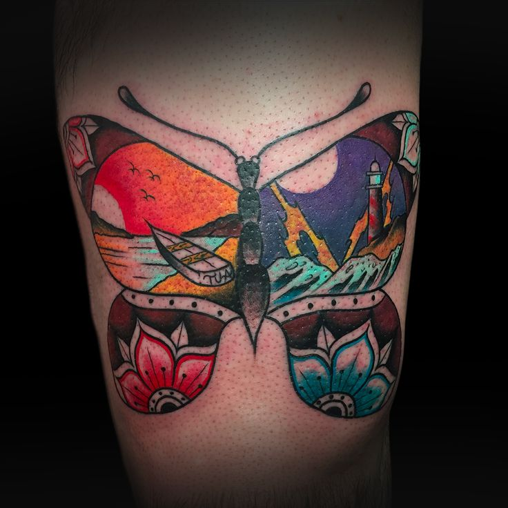 Whole Trad Butterfly. Made by Andrea Magrassi @ Art Of Camden Tattoo Shop