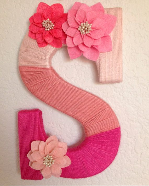 Ombre Yarn Wrapped Letter on Etsy, $30.00