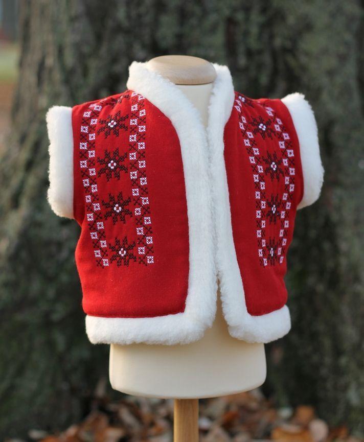 Vestuta,cojocel stilizat pentru botez, brodat cu motive traditionale romanesti
