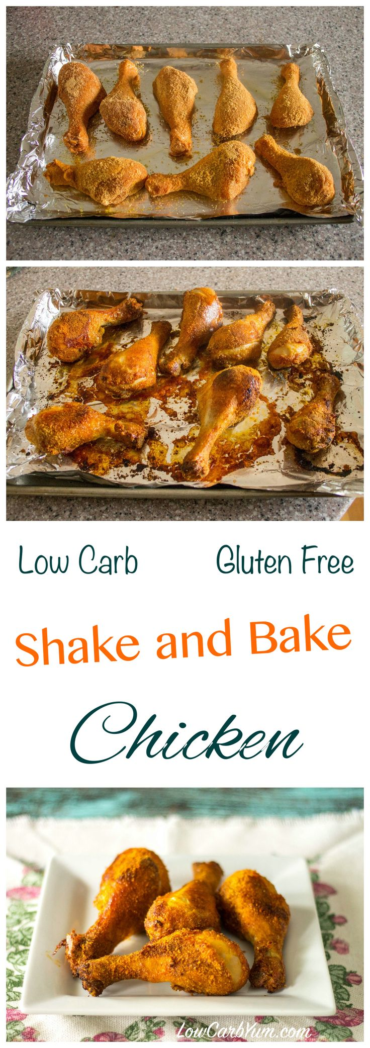 This simple oven fried shake and bake chicken recipe is gluten free and low carb. The preparation time is less than five minutes and clean up is a breeze.:
