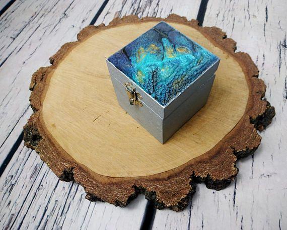 Blue silver metalic shimmering Trinket box dragon skin ocean