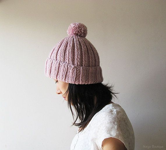 Hand Knitted Chunky Hat in Light Pink  Beanie with Pom Pom
