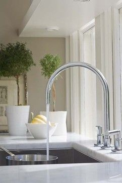 Kitchen Faucets Design, Pictures, Remodel, Decor and Ideas  Beautiful Curved Sink.