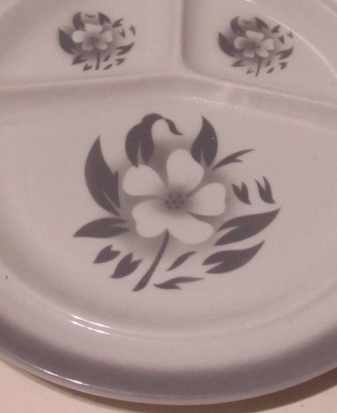 Jackson China Airbrushed Flowers Gray Grill Plate Restaurant    eBay