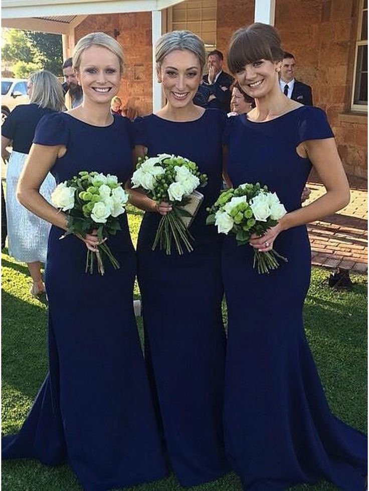Trumpet/Mermaid Cap-Sleeves Long Blue Wedding Party Dresses Bridesmaid Dresses 99601043