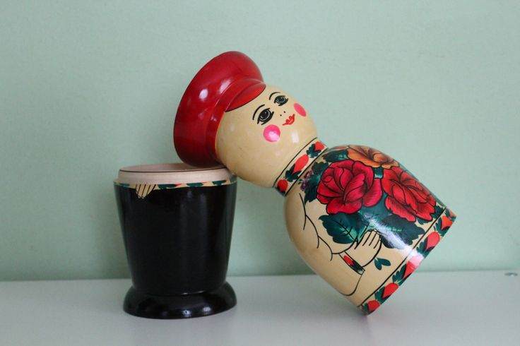 Soviet Wooden Russian Doll Bottle Holder Made in USSR, Matryoshka, Wooden Man, Hand Painted, Lacquer Box, Storage, Bar Decor, Home…