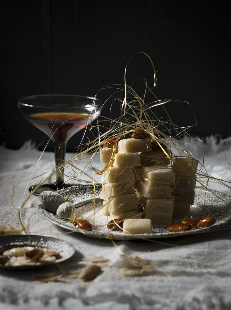 Marzipan with gold spun sugar and candied almonds