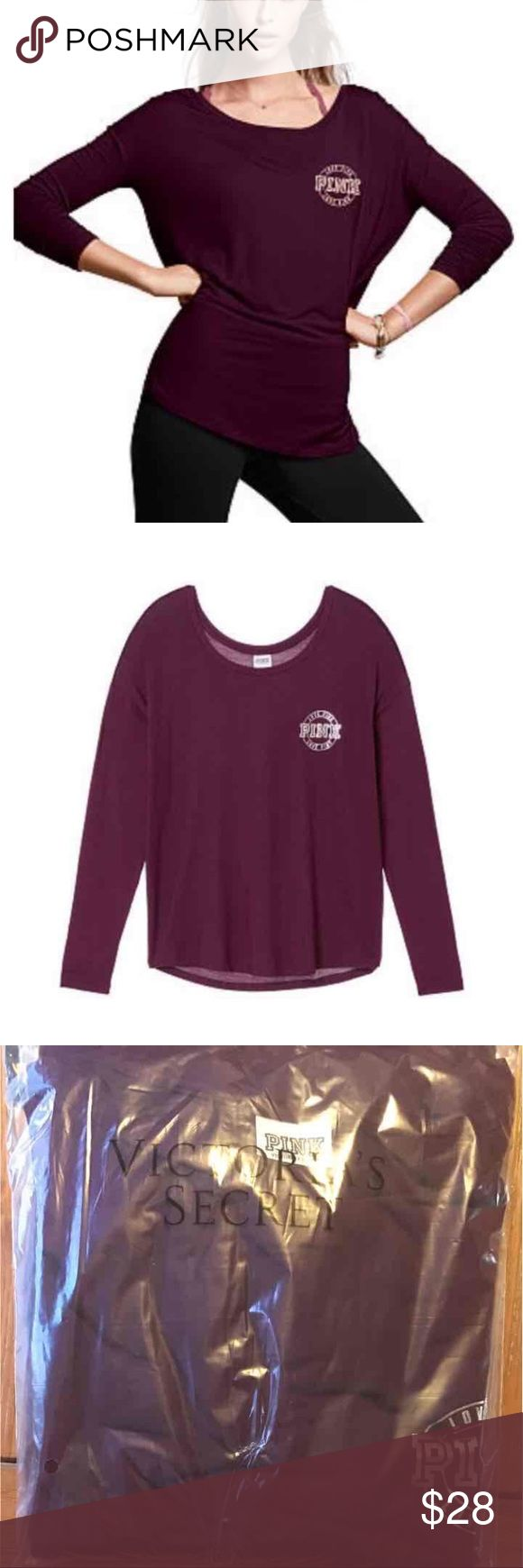 NEW Victoria's Secret Pink slouchy tee New in package   Victoria's Secret Pink super soft slouchy tee Color: black orchid maroon Size: medium (oversized fit) PINK Victoria's Secret Tops Tees - Long Sleeve