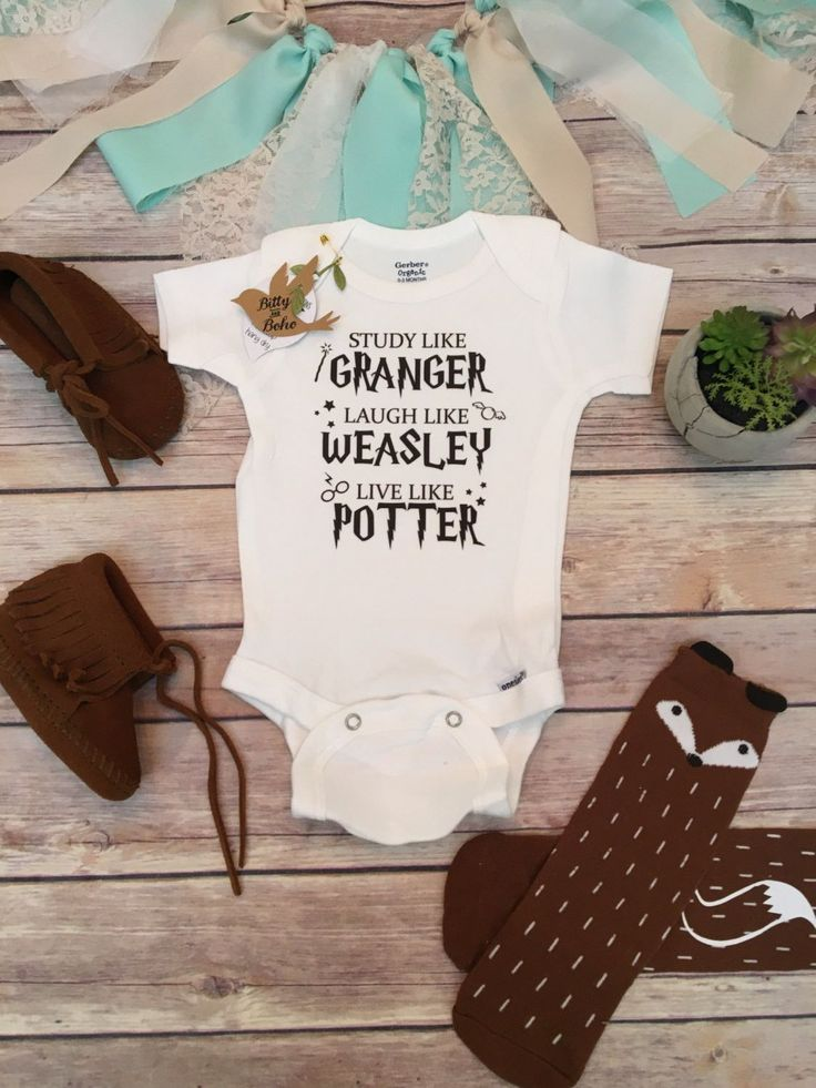 """Harry Potter baby Onesie® (or T-Shirt) Harry Potter baby Onesie® or T-Shirt, unisex style is great for a boy (or girl) with """"Study like Granger, Laugh like Weasley Live like Potter"""" written across the"""