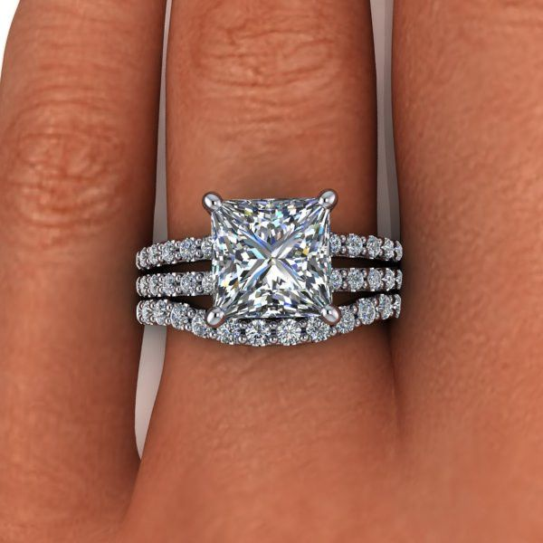 Unique A diamond and Moissanite split shank engagement ring featuring a ct princess cut Forever Brilliant