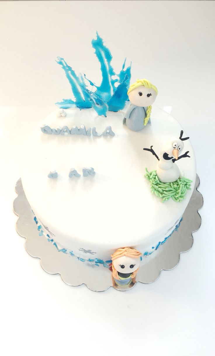 Frozen cake . Olaf, Anna and Elsa