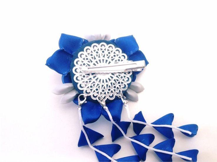 青い三輪桔梗ヘアクリップ