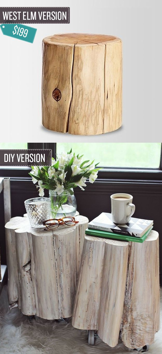 Diy tree stump table - Diy Tree Stump Side Tables A Beautiful Mess Fun Idea For The Basement