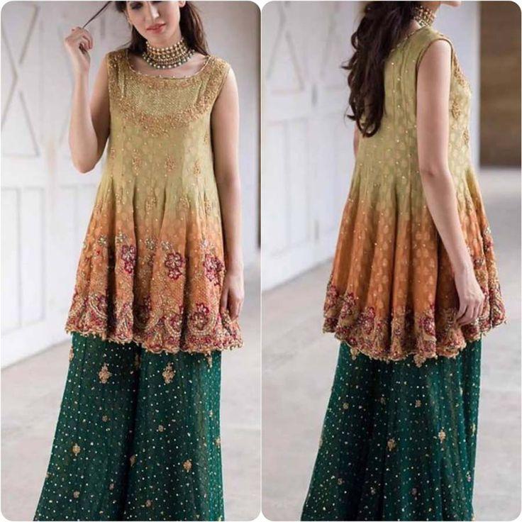 Yellow green mehndi dresses pics