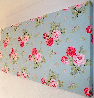 Handmade Cath Kidston Antique Rose Duck Egg Fabric Wall Art
