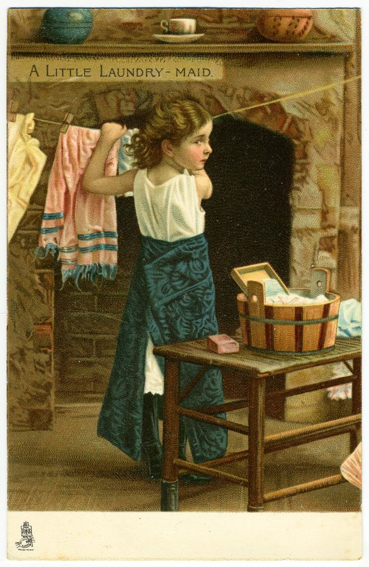 A Little Laundry Maid~Vintage Postcard