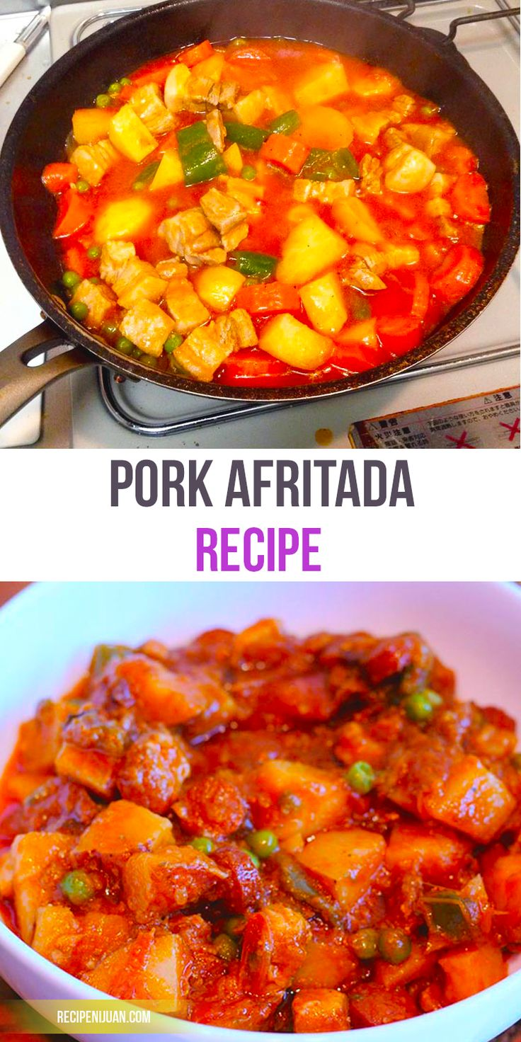Pork Afritada is similar to many others such as Menudo in that aside from the same basic ingredient which is Tomato Sauce. Pork Afritada shares the same carrots, peas, potatoes and red and green bell peppers as with the others.