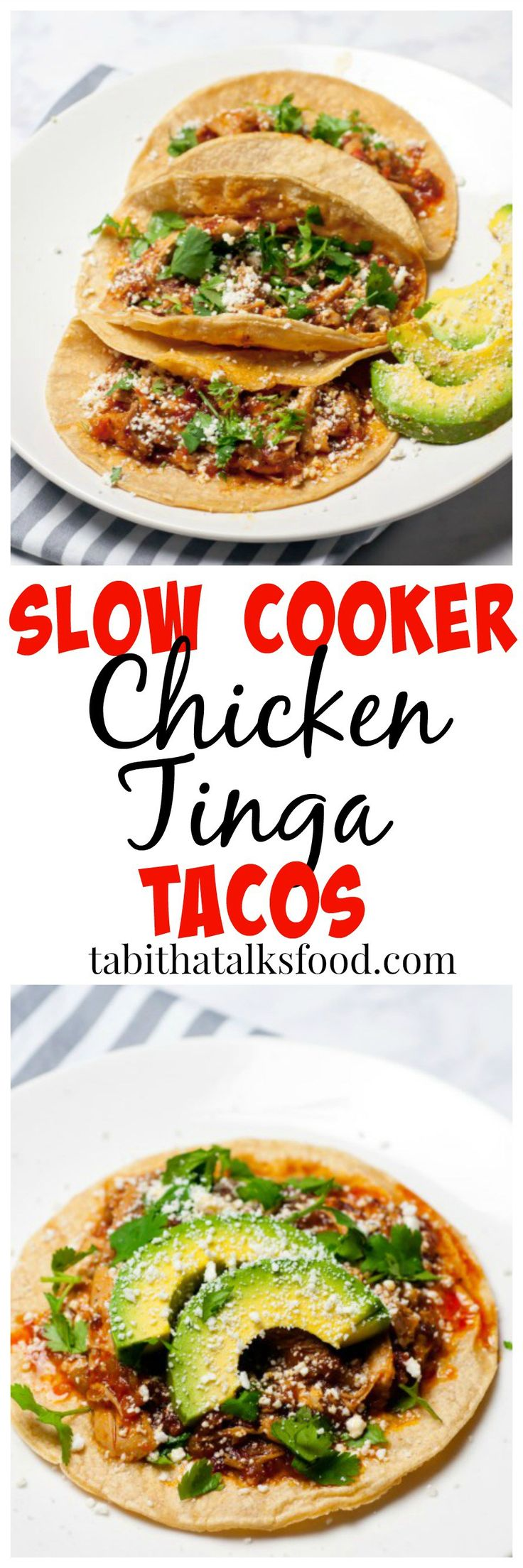 All you need to prepare these chicken tinga tacos is about 5 minutes! Let the slow cooker do the rest of the work for you!