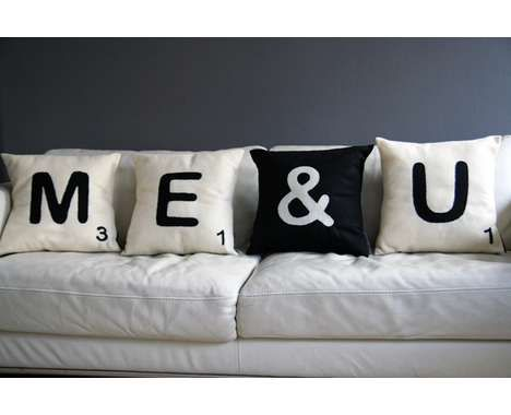 Scrabble Pillows - cute our our bed
