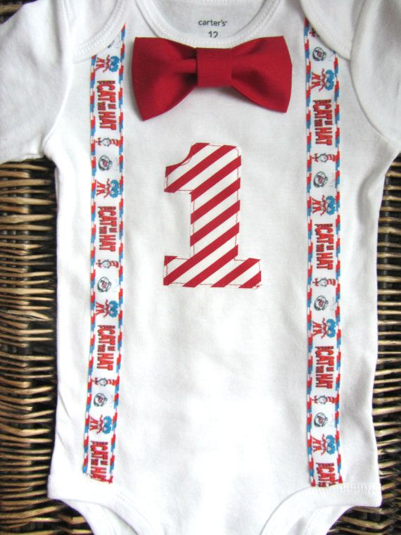 Dr Seuss Cat In The Hat Birthday Outfit Bow Tie By SewLovedBaby