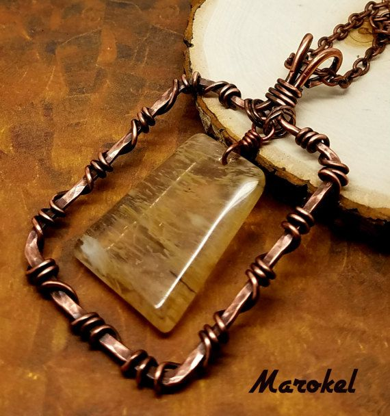 Yellow Quartz Frame Necklace Copper Wire Wrapped by marokel